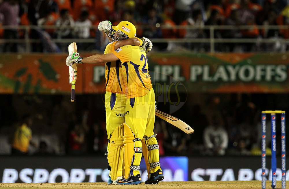 Suresh Raina of The Chennai Superkings and David Hussey of The Chennai Superkings celebrate after winning the eliminator match of the Pepsi Indian Premier League Season 2014 between the Chennai Superkings and the Mumbai Indians held at the Brabourne Stadium, Mumbai, India on the 28th May  2014<br /> <br /> Photo by Vipin Pawar / IPL / SPORTZPICS<br /> <br /> <br /> <br /> Image use subject to terms and conditions which can be found here:  http://sportzpics.photoshelter.com/gallery/Pepsi-IPL-Image-terms-and-conditions/G00004VW1IVJ.gB0/C0000TScjhBM6ikg