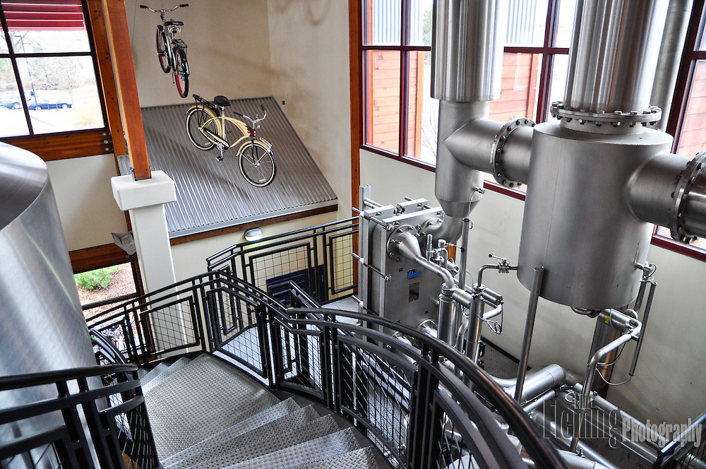 Interior view of New Belgium Brewing Company, makers of Fat Tire ale and other craft beers.