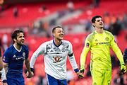 Chelsea midfielder Cesc Fabregas (4), Chelsea defender John Terry (26), Chelsea goalkeeper Thibaut Courtois (13) during the The FA Cup semi final match between Chelsea and Tottenham Hotspur at Stamford Bridge, London, England on 22 April 2017. Photo by Sebastian Frej.