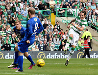 15/07/15 UEFA CHAMPIONS LEAGUE QUALIFIER<br /> CELTIC V STJARNAN<br /> CELTIC PARK - GLASGOW<br /> Celtic ace Stefan Johansen takes a pop at goal.