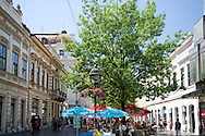 Restored buildings and cafes in Knez-Mihailova, a pedestrian area in the old town of Belgrade, Serbia