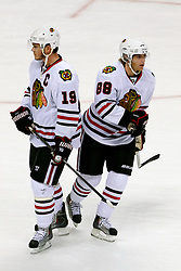 May 16, 2010; San Jose, CA, USA;  Chicago Blackhawks center Jonathan Toews (19) and right wing Patrick Kane (88) before game one of the western conference finals of the 2010 Stanley Cup Playoffs against the San Jose Sharks at HP Pavilion.  Chicago defeated San Jose 2-1. Mandatory Credit: Jason O. Watson / US PRESSWIRE