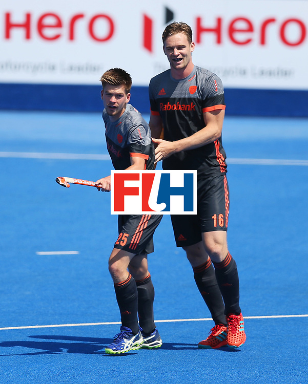 LONDON, ENGLAND - JUNE 20:  Thierry Brinkman of the Netherlands (25) celebrates scoring their first goal with team mate Mirco Pruijser during the Pool B match between India and the Netherlands on day six of the Hero Hockey World League Semi-Final at Lee Valley Hockey and Tennis Centre on June 20, 2017 in London, England.  (Photo by Alex Morton/Getty Images)