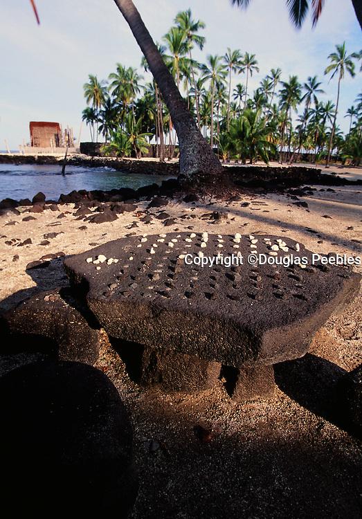 Konane: Hawaiian Checker game,  Pu'uhonua O Honaunau National Park, City of Refuge, Island of Hawaii, Hawaii, USA