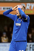 AFC Wimbledon striker Joe Pigott (39) with head in hands after a miss during the EFL Sky Bet League 1 match between AFC Wimbledon and Southend United at the Cherry Red Records Stadium, Kingston, England on 1 January 2020.