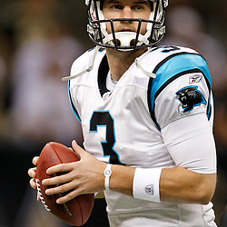 January 1, 2012; New Orleans, LA, USA; Carolina Panthers quarterback Derek Anderson (3) prior to kickoff of a game against the New Orleans Saints at the Mercedes-Benz Superdome. Mandatory Credit: Derick E. Hingle-US PRESSWIRE