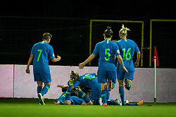 Players of Slovenia celebrating their goal during football match between Slovenia and Nederland in qualifying Round of Woman's qualifying for EURO 2021, on October 5, 2019 in Mestni stadion Fazanerija, Murska Sobota, Slovenia. Photo by Blaž Weindorfer / Sportida
