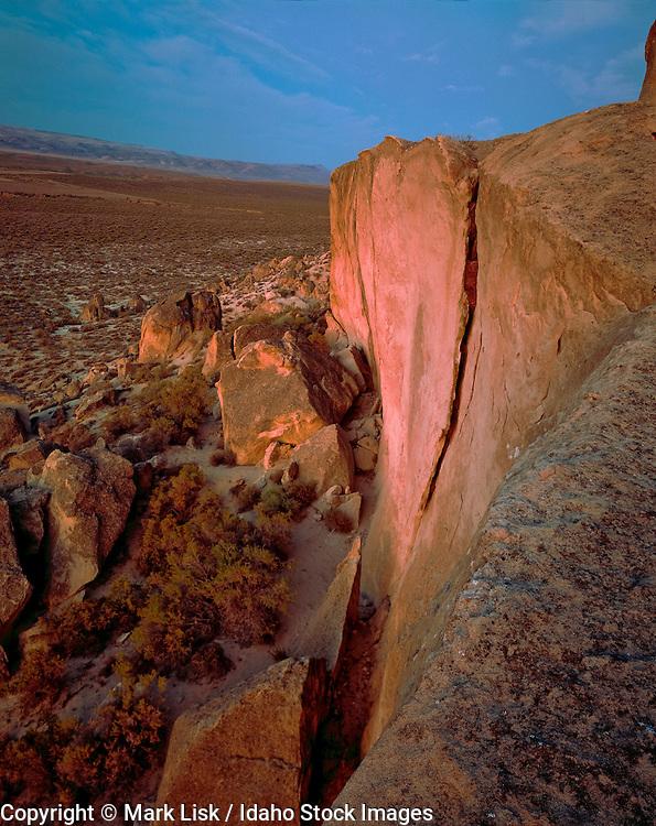 Large chunks of sandstone break free from cliffs in the Owyhee, Canyonlands,  Desert, Idaho.