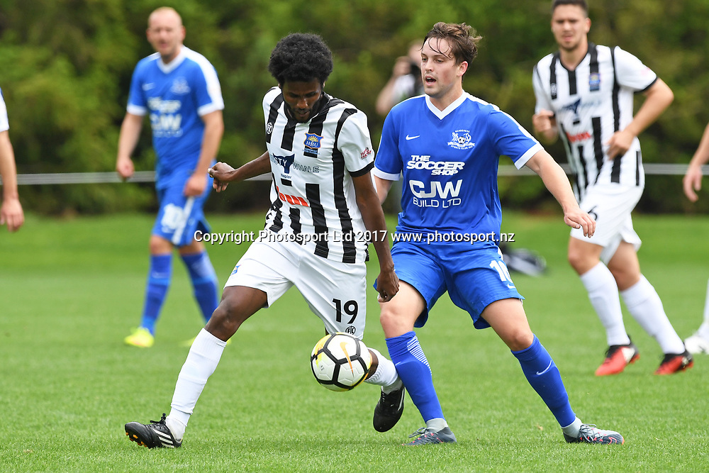 Hawkes Bay's Birhanu Taye and Wanderers Hamish Smylie during the Hamilton Wanderers v Hawkes Bay United at Porritt Stadium, Hamilton, New Zealand on the 29th October 2017. Copyright photo: Jeremy Ward / www.photosport.nz