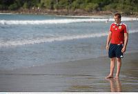 3 July 2013; British & Irish Lions captain Alun Wyn Jones takes a walk on Noosa Beach following the team announcement ahead of their 3rd test match against Australia on Saturday. British & Irish Lions Tour 2013, Team Announcement. Noosa Heads, Queensland, Australia. Picture credit: Stephen McCarthy / SPORTSFILE