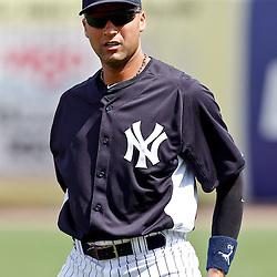 March 2, 2011; Tampa, FL, USA; New York Yankees shortstop Derek Jeter (2) before a spring training exhibition game against the Houston Astros at George M. Steinbrenner Field.  Mandatory Credit: Derick E. Hingle