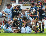 Highlanders player JOSH HOHNECK pushes the scrum over the line for a try during the Natixis Cup rugby match between French team Racing 92 and New Zealand team Otago Highlanders at Sui San Wan Stadium in Hong Kong.