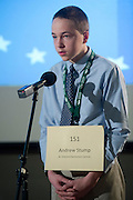 Andrew Stump spells a word during the Southeast Ohio Regional Spelling Bee Saturday, March 16, 2013.