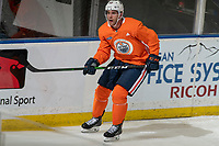 KELOWNA, BC - SEPTEMBER 22:  Patrick Russell #52 of the Edmonton Oilers practices at Prospera Place on September 22, 2019 in Kelowna, Canada. (Photo by Marissa Baecker/Shoot the Breeze)