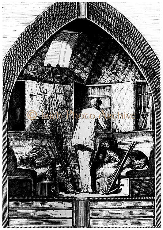 Interior of the space capsule. From Jules Verne 'De la Terre a la Lune', Paris, 1865. Wood engraving.