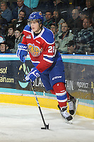 KELOWNA, CANADA, FEBRUARY 15: Martin Gernat #28 of the Edmonton OIl Kings skates with the puck on the ice at the Kelowna Rockets on February 15, 2012 at Prospera Place in Kelowna, British Columbia, Canada (Photo by Marissa Baecker/Shoot the Breeze) *** Local Caption ***