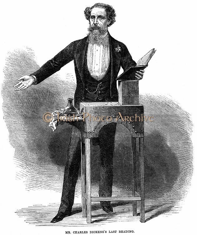 Charles Dickens (1812-70) giving his last public reading at St James's Hall, London 5 March 1870. He read extracts from 'A Christmas Carol' and the trial scene from 'Pickwick Papers'. His first reading was in 1858. Wood engraving 1870.