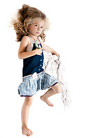 caucasian little girl full length upset holding blanket isolated studio on white background