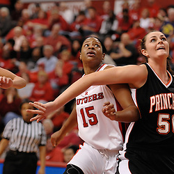 Nov 18, 2008; Piscataway, NJ, USA; Rutgers senior center Kia Vaughn (15) battles Princeton's Cheryl Stevens (50) during the first half of Rutgers' 83-35 victory at Louis Brown Athletic Center .