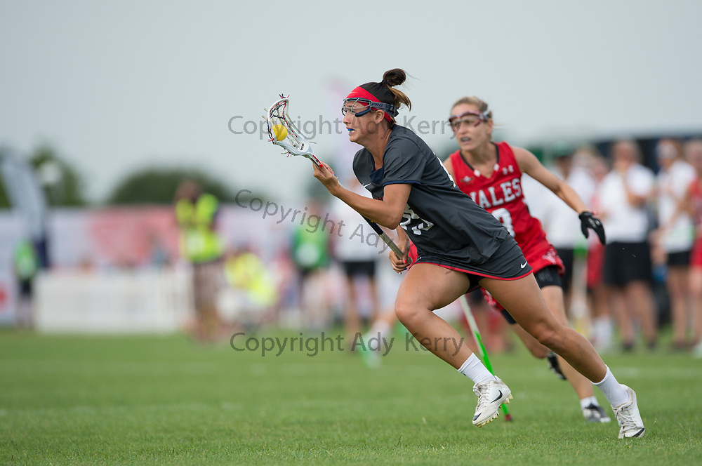 USA's Marie McCool at the 2017 FIL Rathbones Women's Lacrosse World Cup, at Surrey Sports Park, Guildford, Surrey, UK, 18th July 2017.
