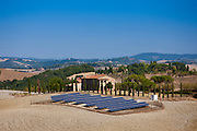 Solar panels at old restored farmhouse at Murlo in Tuscany, Italy