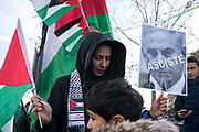 France, Paris, 9 December 2017. Protest against Prime Minister of Israel Netanyahou coming to Paris to see French President Macron. Following USA President Trump recognised Jerusalem as the capital of Israel, Palestinian community and other Muslim communities gathered to express their anger.