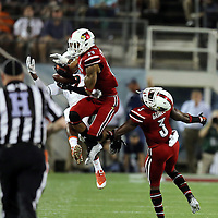 Louisville Cardinals safety Hakeem Smith (29) breaks up a pass intended for Miami Hurricanes wide receiver Malcolm Lewis (9) during the NCAA Football Russell Athletic Bowl football game between the Louisville Cardinals and the Miami Hurricanes, at the Florida Citrus Bowl on Saturday, December 28, 2013 in Orlando, Florida. (AP Photo/Alex Menendez)