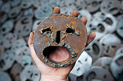 detail of steel sculpture of face inside Memory Void room at Daniel Libeskind`s Jewish Museum in Kreuzberg Berlin Germany