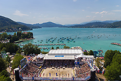 04-08-2013 VOLLEYBAL: EK BEACHVOLLEYBAL: KLAGENFURT <br /> Beachvolleyball Centercourt during the A1 Beachvolleyball European Championship at the Strandbad Klagenfurt support publiek<br /> **NETHERLANDS ONLY**<br /> ©2013-FotoHoogendoorn.nl