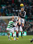 Dundee's Marcus Haber heads clear - Celtic v Dundee in the Ladbrokes Scottish Premiership at Celtic Park, Glasgow. Photo: David Young<br /> <br />  - © David Young - www.davidyoungphoto.co.uk - email: davidyoungphoto@gmail.com