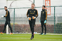 November 8, 2017 - Tubize, BELGIUM - Belgium's goalkeeper Koen Casteels, Belgium's goalkeeper Simon Mignolet and Belgium's goalkeeper Thibaut Courtois pictured during a training session of Belgian national soccer team Red Devils, Wednesday 08 November 2017, in Tubize. The team will be playing a friendly game against Mexico on 10th November and Japan on 14th November. BELGA PHOTO BRUNO FAHY (Credit Image: © Bruno Fahy/Belga via ZUMA Press)