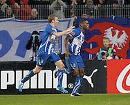 UEFA Europa League.Lech Poznan v Manchester City.4th November 2010.Manuel Arboleda celebrates his goal for Lech , after him   Artioms Rudnevs ..Photo by: Piotr Hawalej / WROFOTO