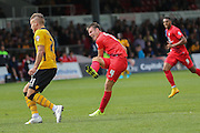 York City midfielder James Berrett scores the opening goal during the Sky Bet League 2 match between Newport County and York City at Rodney Parade, Newport, Wales on 5 September 2015. Photo by Simon Davies.