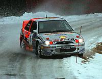 Motorsport. Flesbergrally 29.januar 2000. Henning Solberg og Runar Pedersen på SS1 hvor de tok raskeste vei med sin Ford Escort WRC. Foto: Digitalsport, Jan A. Holshagen