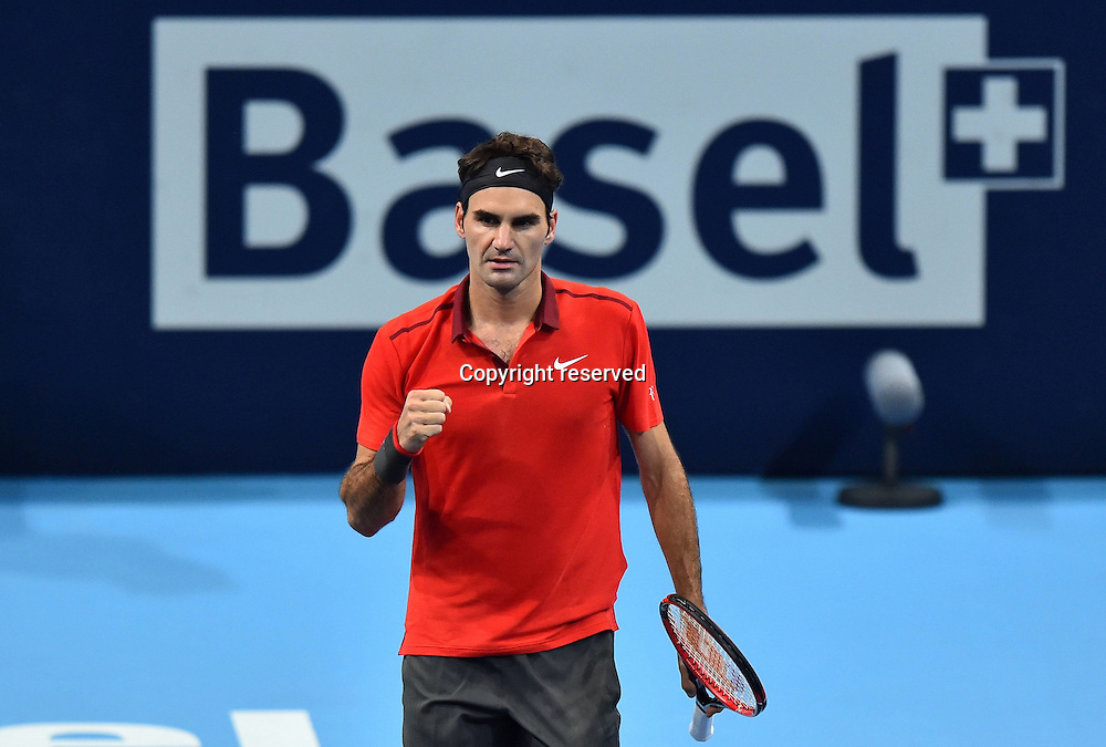 23.10.2014, Basel, Switzerland. Swiss indoor ATP tennis championships.  Celebration from Roger Federer (SUI)