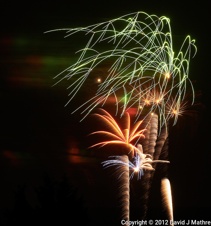 Independence Day Fireworks in Montgomery Township, New Jersey. Image taken with a Nikon D800 and 200 mm f/2G VR lens (ISO 100, 200 mm, f/11, 8 sec).