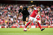 Sevilla midfielder Steven N'Zonzi (15), Arsenal midfielder Alex Oxlade-Chamberlain (15) during the Emirates Cup 2017 match between Arsenal and Sevilla at the Emirates Stadium, London, England on 30 July 2017. Photo by Sebastian Frej.