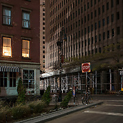 November 2, 2012 - New York, NY : Lower Manhattan soldiered through it's fourth consecutive night without electricity in the wake of Super Storm Sandy. Pictured here, a minute-long exposure captures the intersection of Coenties Slip and Pearl Street in lower Manhattan, early on Friday morning. CREDIT: Karsten Moran