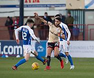18th November 2017, Dens Park, Dundee, Scotland; Scottish Premier League football, Dundee versus Kilmarnock; Dundee's Faissal El Bakhtaoui battles for the ball with Kilmarnock's Greg Taylor
