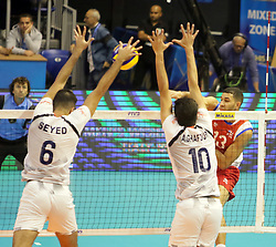 September 12, 2018 - Varna, Bulgaria - right Sequiel SANCHEZ (Puerto Rico), .FIVB Volleyball Men's World Championship 2018, pool D, Iran vs Puerto Rico,. Palace of Culture and Sport, Varna/Bulgaria, .the teams of Finland, Cuba, Puerto Rico, Poland, Iran and co-host Bulgaria are playing in pool D in the preliminary round. (Credit Image: © Wolfgang Fehrmann/ZUMA Wire)