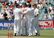 Graeme Swann celebrates AB de Villiers wicket in vain during day 3 of the 4th Castle Test between South Africa and England held at The Bidvest Wanderers Stadium in Johannesburg, South Africa on the 16 January 2010.Photo by:  Ron Gaunt/SPORTZPICS