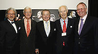 Rob Dickins CBE, Lord Baker of Dorking, John Craig OBE, Sir George Martin CBE and  John Deacon CBE. (l-r). The BRIT School Industry Day, Croydon, London..Thursday, Sept.22, 2011 (John Marshall JME)