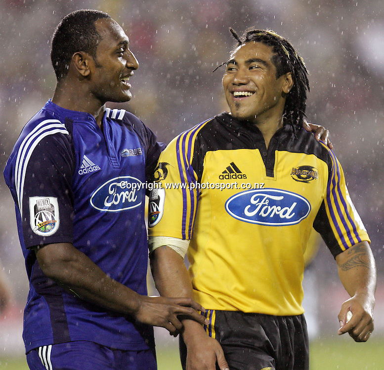 Joe Rokocoko and Ma'a Nonu after the Rebel Sport Round One Super 14 rugby union match between the Hurricanes and the Blues at Eden Park, Auckland, New Zealand on Friday 10 February, 2006. The Hurricanes won the match, 37 -19. Photo: Hannah Johnston/PHOTOSPORT<br />