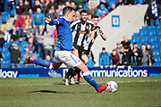 Chesterfield forward Kristian Dennis (9) scores the penalty at the end to win the game for Chesterfield during the EFL Sky Bet League 2 match between Chesterfield and Notts County at the Proact stadium, Chesterfield, England on 25 March 2018. Picture by Nigel Cole.