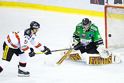 23.01.2015, Hala Tivoli, Ljubljana, SLO, EBEL, HDD Telemach Olimpija Ljubljana vs HC Znojmo Orli, 42. Runde, in picture Jan Seda (HC Znojmo Orli, #51) vs Tomaz Trelc (HDD Telemach Olimpija, #95) during the Erste Bank Icehockey League 42. Round between HDD Telemach Olimpija Ljubljana and HC Znojmo Orli at the Hala Tivoli, Ljubljana, Slovenia on 2015/01/23. Photo by Morgan Kristan / Sportida