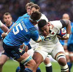 26 February 2017 : 6 Nations Rugby : England v Italy :<br /> Nathan Hughes of England is tackled by Andries van Scalkwyk.<br /> Photo: Mark Leech