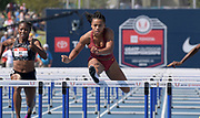 Jul 26, 2019; Des Moines, IA, USA; Chanel Brissett of Southern California placed second in women's 100m hurdles heat in 13.01 to advance during the USATF Championships at Drake Stadium.