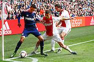 04-10-2015 VOETBAL: AJAX-PSV:AMSTERDAM<br /> Adam Maher van PSV in duel met Jo&euml;l Veltman van Ajax en Mitchell Dijks van Ajax <br /> <br /> Foto: Geert van Erven