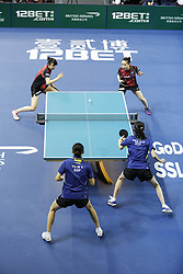 February 23, 2018 - London, England, United Kingdom - ITTF Team World Cup match between Hina HAYATA and Mima ITO of Japan and Herng Hwee YEE and Mengyu YU of Singapore, Quarter Finals Women doubles match on February 23, 2018 in Copper Box Arena, Olympic Park, London. (Credit Image: © Dominika Zarzycka/NurPhoto via ZUMA Press)