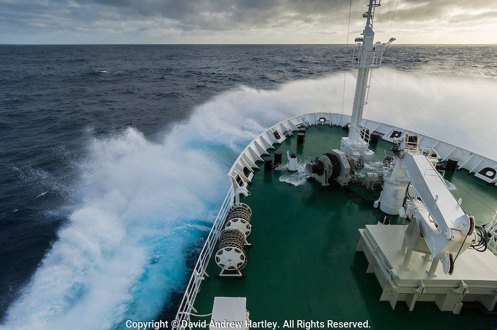 A ships bow crashes into a wave en-route to Antarctica, Scotia Sea